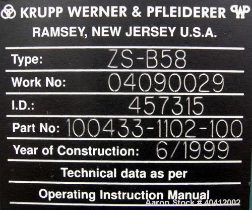"Used-Krupp Werner Pfleiderer 58mm twin screw side feeder, model ZS-B58. (2) 2.2"" (52mm) side by side screws, top feed, no ho..."