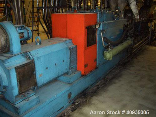 Used-Twin Screw Extruder 90/92 mm. 12 barrel design. 4.997 gearbox ratio. 350 rpm output. 400 hp DC/SCR drive. Complete temp...