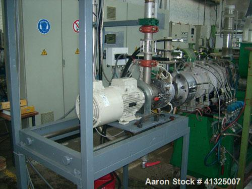 Used-Alpha AS-S 75.36 Twin Screw Extruder, maximum throughput 1320 pounds per hour (600 kg), 2 co-rotating screws, diameter ...