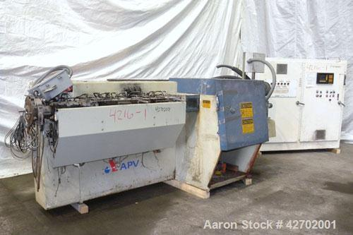 Used- APV MP 2000 Series 50mm Twin Screw Extruder, MP 2050. Approximately 25:1 L/D ratio. Co-rotating side by side intermesh...