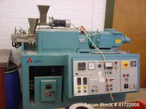 """Used-APV MP2030 Twin Screw Extruder, co-rotating. With 1.2"""" (30 mm) screw, 11 L/D ratio, screw speed 500 rpm, water cooled. ..."""