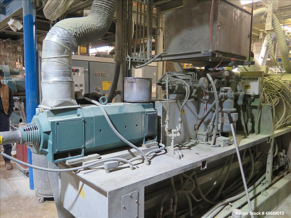 Used-  APV Baker Perkins 80mm Twin Screw Extruder, Model MP 2080.  DC Motor 150HP.  New PIV gearbox.  Includes; Schenck Accu...