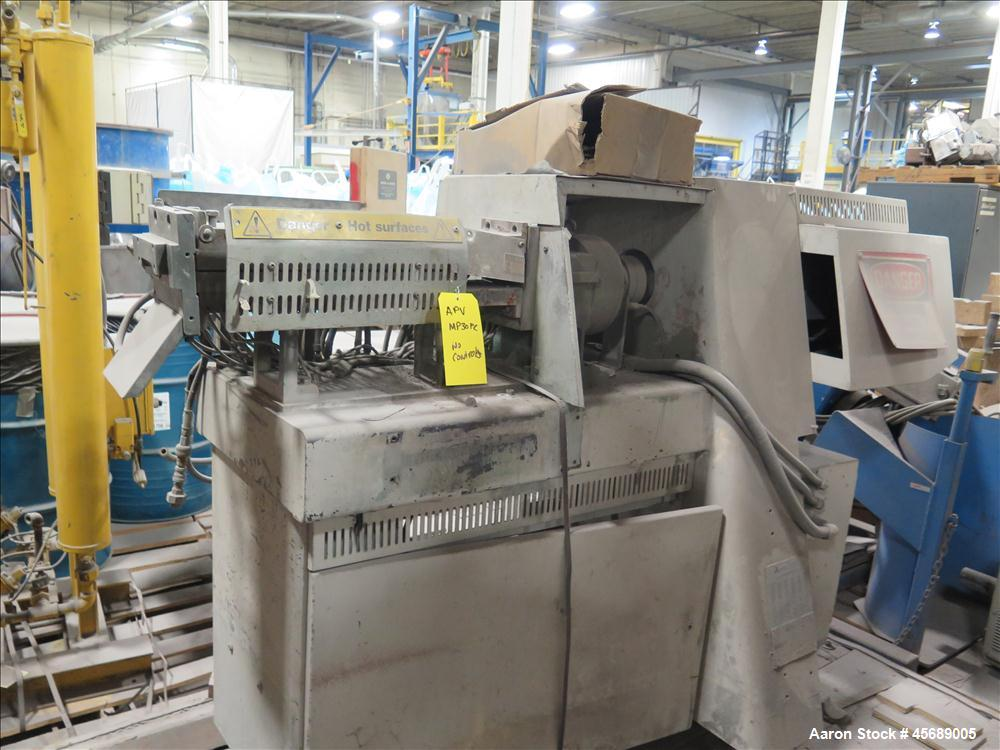 Used-APV Baker Perkins 30mm Twin Screw Extruder, Model MP30PC.  17.5:1 L/D Ratio.  Typical Outputs 100-200 kg/h.