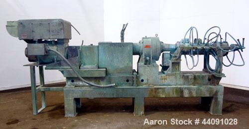 Used- Baker Perkins 125mm MP Series Twin Screw Extruder. Approximate L/D ratio. Co-rotating screw design. Clamshell design l...