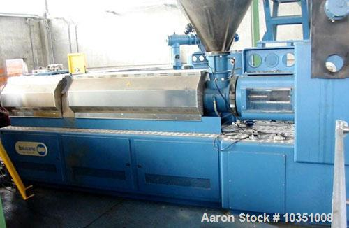 "Used-Bausano MD 115/26 Twin Screw Extruder. Screw diameter 4.5"" (115 mm). L/D 26, parallel screw configuration, air cooling...."