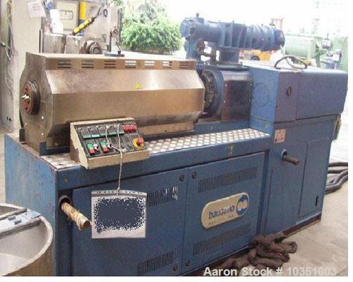 "Used-Bausano MD 52/53 Twin Screw Extruder. Screw diameter 2.04"" (52mm). Maximum throughput 65 kg/hour. Main motor 49 hp, 36...."