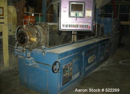 "USED: Bausano twin screw extruder, type MD2-125B-21-KH. 125 mm diameter (4.9""), 21:1 L/D. Max screw speed 42 rpm via a gearb..."