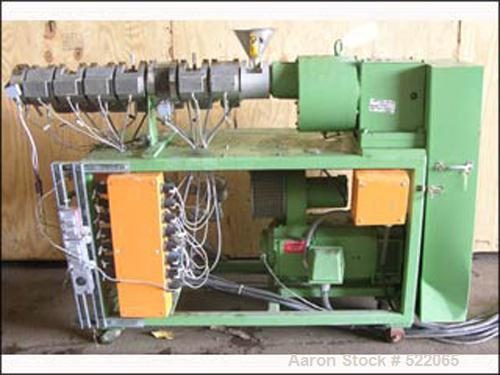 USED: 25mm Berstorff twin screw extruder, model 2E25X38D. 38:1 L/D, electrically heated, air cooled, (8) total barrel sectio...
