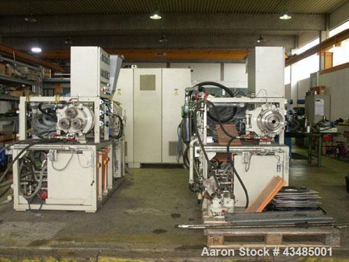 """Used- Berstorff GE 90 KS 12-D Twin Screw Extruder.  Maximum output 925 lbs, 420 kg/hour.  Screw diameter 3.5"""" (90 mm). L/D 1..."""