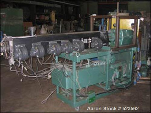 USED: Berstorff model ZE-40 twin screw extruder. 40 mm diameter screw, co-rotating, 40:1 L/D with 8 barrel sections, electri...