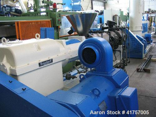 "Used-Berstorff ZE 60 M Co-rotating Twin Screw Extruder. L/D 33, screw diameter 2x2.5"" (2x64 mm), maximum throughput 1056 lbs..."