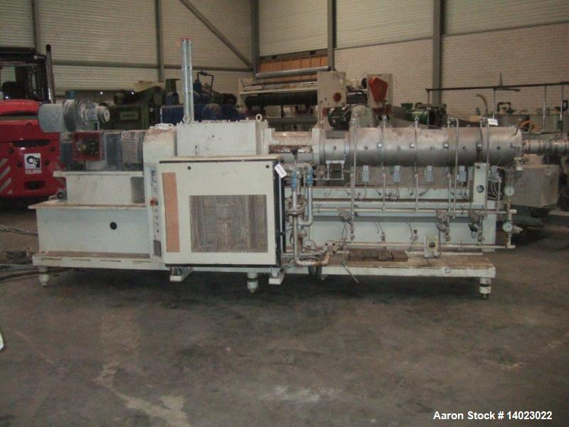 Used- Berstorff ZE 60 Twin-Screw Extruder. 2.36 (60 mm) co-rotating, 28 L/D. Screw speed 500 rpm, vented barrel with a 160HP...