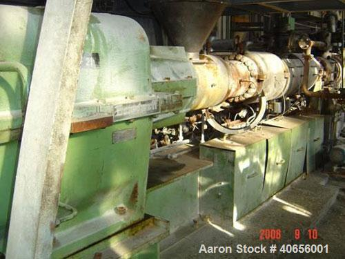 Used-Berstorff twin screw extruder, type ZE130A x 28D, capacity 2.5 tons per hour. 28:1 L/D. 133 mm diameter screws. Co-rota...