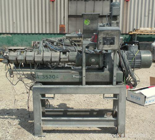 Used- Berstorff 25mm Twin Screw Extruder, type ZE25, co-rotating intermeshing side by side screw design. Approximate 33 to 1...