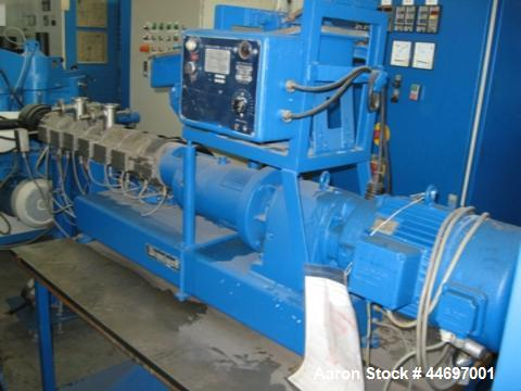 "Used-Berstorff ZE25 Co-Rotating Twin Screw Extruder.  Screw diameter 0.98"" (25 mm).  Maximum screw speed 450 rpm.  Capacity ..."