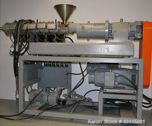 Used-Berstorff Twin Screw Extruder, Model ZE25X330. (7) Barrel sections, electrically heated, air cooled, co-rotating screw ...