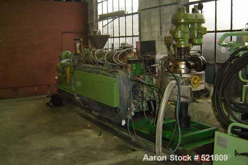 USED: Berstoff twin screw extruder, type ZE60x33D. 60 mm screws, 33:1 L/D, side by side, co-rotating, electrically heated, w...