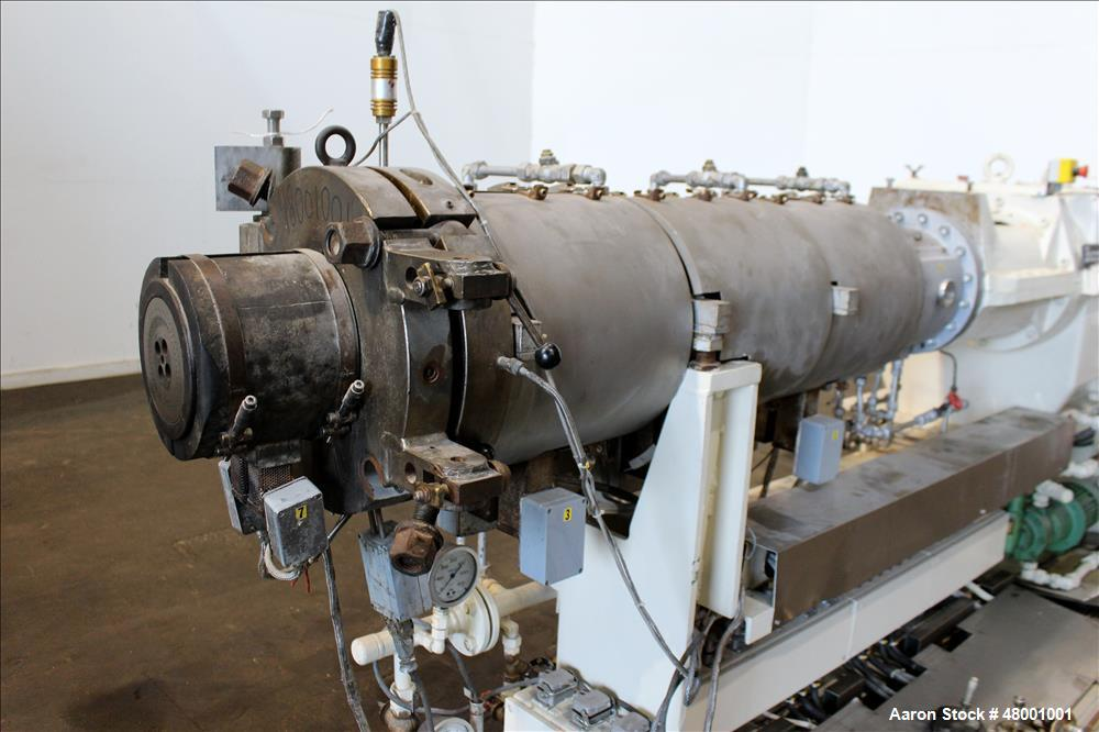 Used- Berstorff 75mm Twin Screw Extruder, Model ZE75A. 4 Zone electrically heated, water cooled system including pump and he...