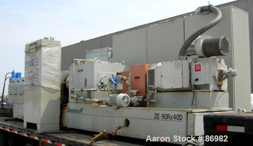 Used- Berstorff Twin Screw Extruder, Model ZE90RX40D, 102 mm screw diameter. Approximate 40:1 L/D ratio. Co-rotating screw d...