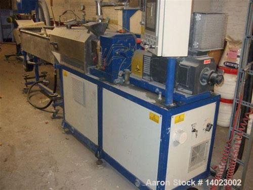 "Used-Comac EBC24-40D Twin Screw Co-Rotating Extruder. Screw diameter 1"" (25 mm), ratio 40 D. Motor 32 hp/24 kW DC with max 1..."