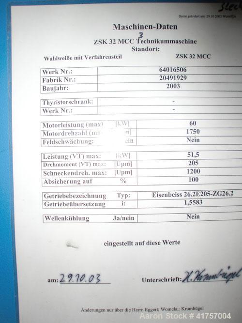 "Used-Coperion ZSK 32 MCC Twin Screw Extruder.  Screw diameter 1.25"" (2x32 mm), L/D 34, maximum capacity (100 kg/h), main mot..."