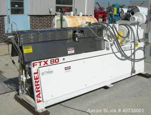 Used- Farrel 37mm Co-Rotating Twin Screw Extruder, Model FTX80H. Co-rotating screw design. Approximately 40 to 1 L/D ratio. ...