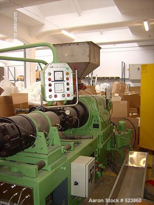 "USED: Kastermann double screw extruder used in a laboratory. Diameter 4.3"" (110 mm), 25 L/D, used on PS and EPDM. Includes c..."