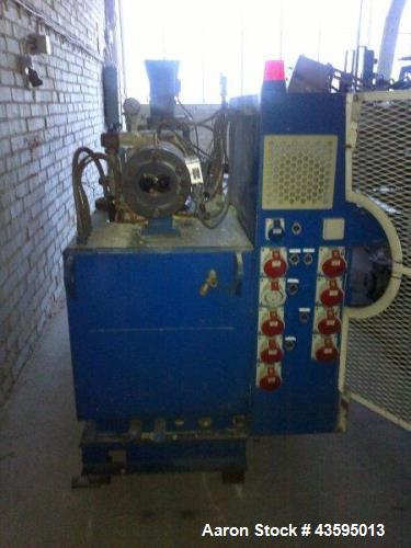 Used- Krauss Maffei Twin Screw Extruder, Model KMD-2-60k. Conical Twin 60/127mm. New model gear box. DC main motor 36kw. AC ...
