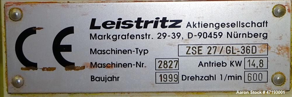 Used- Leistritz 27mm Co-Rotating Twin Screw Extruder, Model ZSE 27/GL-36D. 36:1