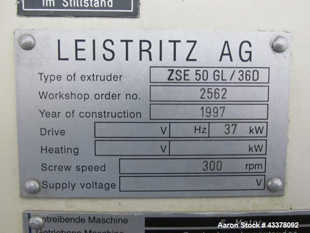Used- Leistriz Twin Screw Extruder, Model ZSE 50 GL/36D. 50 mm Screws, co-rotating, 36 to 1 L/D, (9) total barrel segments w...