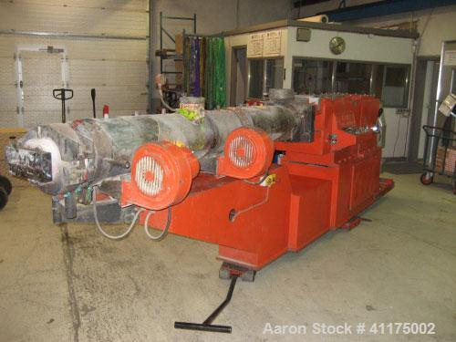 """Used-Maris TM 85 Twin Screw Extruder. Co-rotating, 2 x 3.35"""" (2 x 85 mm) screws, L/D 24, 36 hp/27 kW DC motor with inverter,..."""