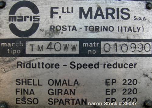 Used- Maris 40 MM Twin Screw Extruder, Model TM40WW. Approximately 40:1 L/D ratio. Co-rotating screw design. 9 barrel sectio...