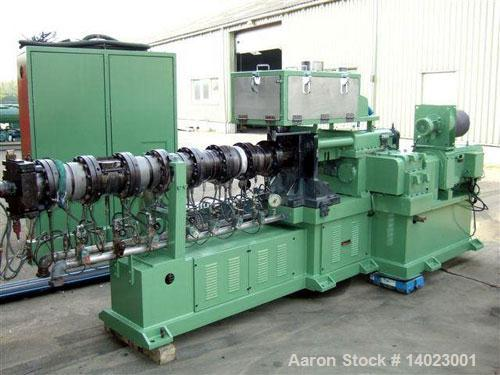 "Used-Maris Twin Screw Co-Rotating Extruder with control panel. Screw diameter 2.5"" (64 mm), L/D 32, motor 120 hp/90 kW DC, w..."