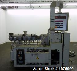 "Used- Berstorff 40mm Twin Screw Extruder, Model ZE 40/40A. 28:1 L/D. Approximate 41"" long screw x 40-1/2"" center line height..."