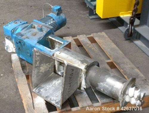 """Used- Twin Screw Side Feeder, Approximately 76 mm (3""""). Includes feed hopper. Driven by a 3 KW (4 HP), 3/50/230/400 Volt, 14..."""