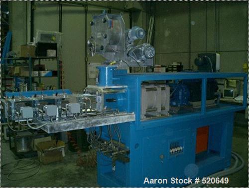 """Unused-Rebuilt OMC twin screw extruder. 16:1 L/D, 2.4"""" diameter (62mm) x 33.8"""" straight side (868mm), twin screws co-rotatin..."""