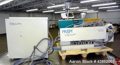 Used- Prism 16mm Twin Screw Extruder, Model TSE-16. Co-rotating intermeshing side by side screw design. Approximate 15 to 1 ...