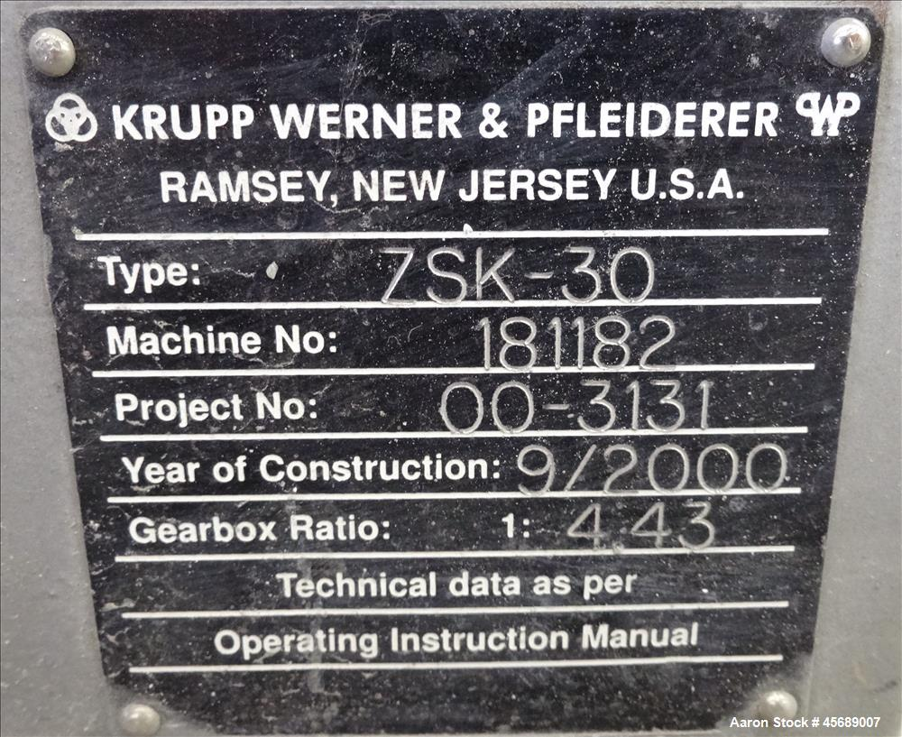 Used- Werner & Pfleiderer Twin Screw Extruder, Model 7SK-30, (2) 30 mm screws.2 zone electrically heated water cooled barrel...