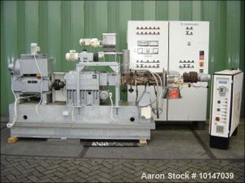 Used-Werner Pfleiderer Lab Size Twin Screw Extruder, Type Continua 58/12D.  58mm diameter screws, 12:1 L/D, co-rotating. 3 H...