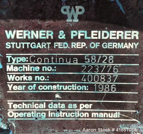 Used- Werner Pfleiderer 58mm Continua Twin Screw Extruder, Type 58/28