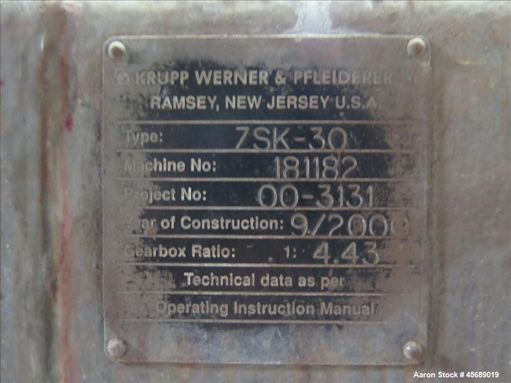 Used-Werner &Pfleiderer 30mm Twin Screw Extruder, Model ZSK-30.  15 HP AC motor.  Includes; Schenck Accurate 602 Feeder, Bal...