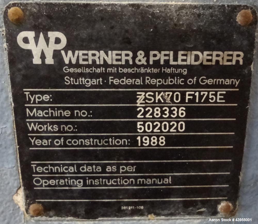 Used - Werner & Pfleiderer ZSK70 Underwater Pelletizing Line