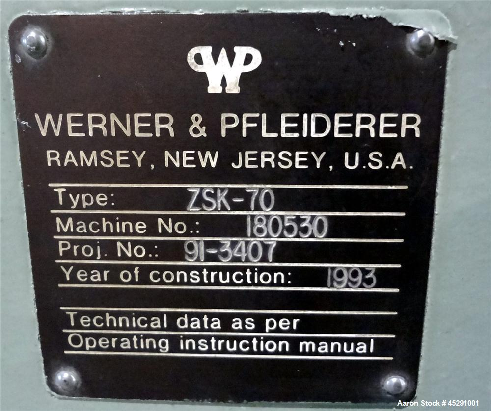 Used- Werner & Pfleiderer Twin Screw Extruder Model ZSK-70