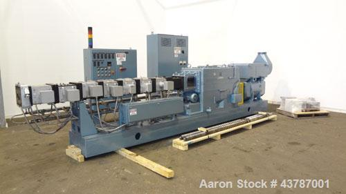 Used- Werner & Pfleiderer 92mm Twin Screw Extruder, Type ZSK-92F-385E. Approximate 30 to 1 L/D ratio. Co-rotating intermeshi...
