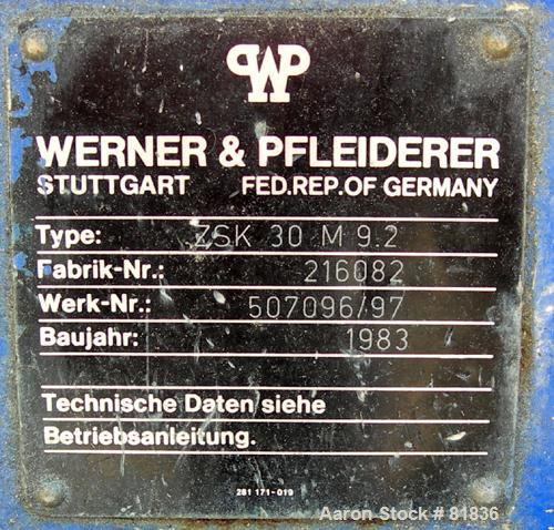USED: Werner Pfleiderer lab size twin screw extruder. 30 mm screw diameter, model ZSK30M0/2P. Approx 30:1 L/D ratio. Co-rota...