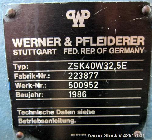 Used- Werner Pfleiderer 40mm Twin Screw Extruder, Type ZSK40W32.5E. Co-Rotating intermeshing side by side screw design. Appr...