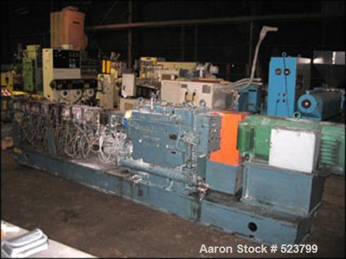 USED: Werner Pfleiderer twin screw extruder, type ZSK70. 70 mmco-rotating segmented screws, 30:1 L/D with (1) feed section, ...