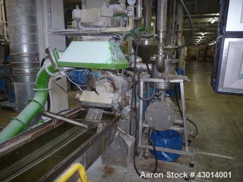 Used- Berstoff Twin Screw Extruder, type ZE60A-33D, Co-rotating. Max screw speed 500 RPM via a Flender gearbox, ratio 5:1 by...