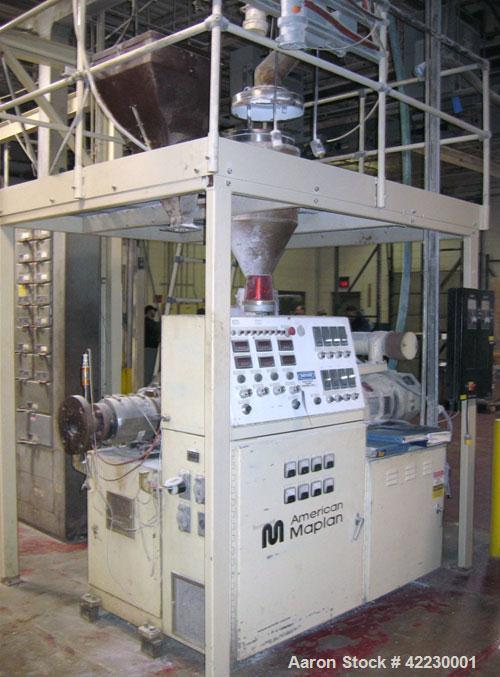 Used- American Maplan 40mm Conical Counter-Rotating Twin Screw Extruder, model CON40