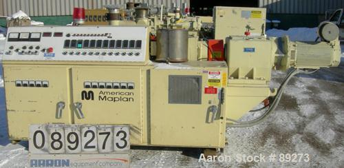 USED: American Maplan conical counter-rotating twin screw extruder, 62 mm, model DSK62. Approximate 47.1:1 gearbox ratio. Bu...